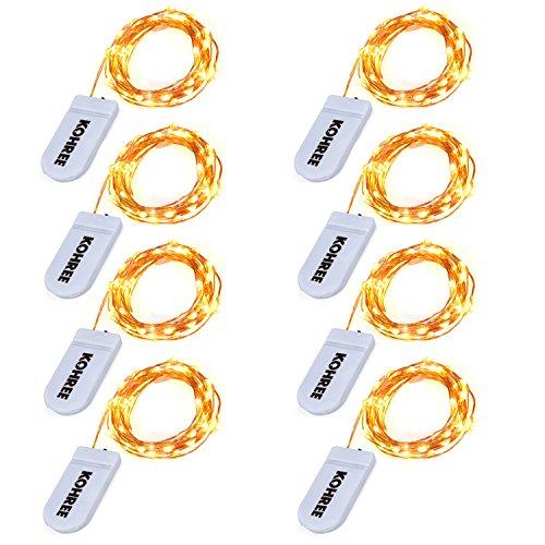 Kohree 8 Stück 20 LEDs Kupferdraht Lichterkette Warmweiß Batteriebetrieben für Weihnachten, Hochzeit, Party, Heim-Dekoration (Warmweiß, 7.2Ft/2.2M)