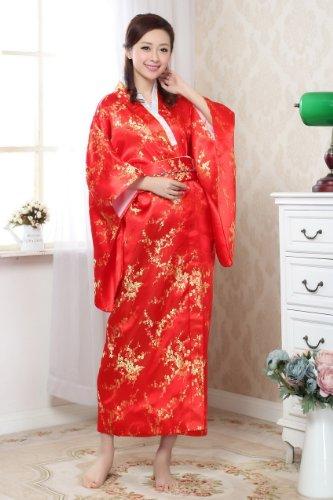 JTC Femmes Robe de Bain/Chambre Longue Japonaise Kimono Lache en Satin Motif Multicolore prune rouge