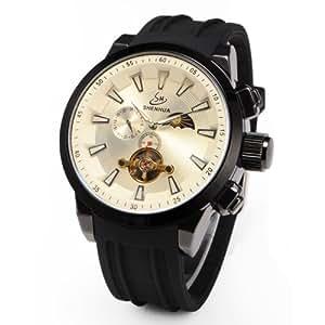 Mecanique montre homme automatique tourbillon phrase lune/soleil bracelet caoutchouc cadran beige