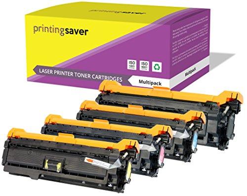 Printing Saver 4 Premium Toner kompatibel zu CE250X (504X) CE251A CE252A CE253A (504A) für HP Color Laserjet CM3530 CM3530FS MFP CP3520 CP3525 CP3525DN CP3525DX CP3525N CP3525X CP3530 CP3530FS (Hp Ce252a)