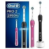 Oral-B PRO 2 2950 CrossAction Elektrische Zahnbürste, zwei Modi und zwei Aufsteckbürsten, mit 2 Handstücken, pink und schwarz -