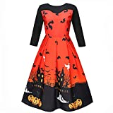 TEBAISE Halloween Retro 3/4 Ärmel mit Stoffdruck Vintage Rockabilly Swing Kleid/Cocktailkleid Herbstkleid(Orange,S)