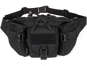 BondFree Tactical Nylon Taktische Hüfttasche Freizeittasche Molle Bauchtasche mit zu vielen Schnallen Militär Gürteltasche Reißverschluss für Freizeit Outdoor Sport Trekking Wandern Running