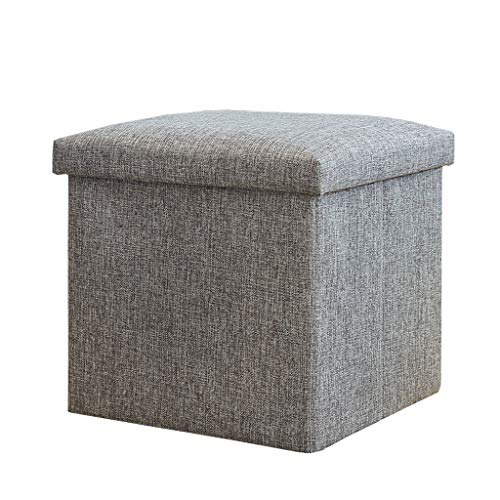 Aufbewahrung Ottoman Cube Faltbar/Fußstütze Hocker/Couchtisch, Hochelastische Schwammfüllung, Leinen Fußhocker Sitzpuff (Grau, Grün)
