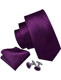 Barry.Wang Solid Ties Set Pocket Square Cufflinks Stripe Necktie Classic
