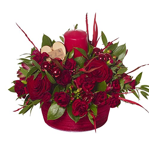 The Flower Rooms - Christmas Table Centre Candle - Fresh Flowers Delivered - No Relay Service, Flowers Made amp; Delivered By Us