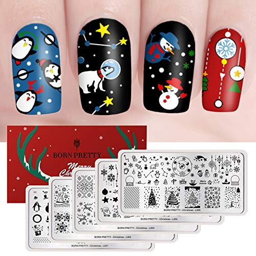 BORN PRETTY Rectangle Nail Stamping Plate Nail Stamp Image Plate Manicure Santa Claus Christmas Series