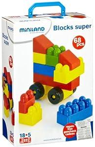 Miniland 32323  - Bloques de construcción de colores (68 piezas) Importado de Alemania