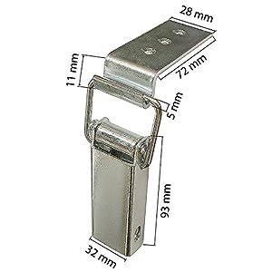 Spannverschluss Kistenverschluss 88 x 40 x 4 mit Gegenhaken Eckbefestigung