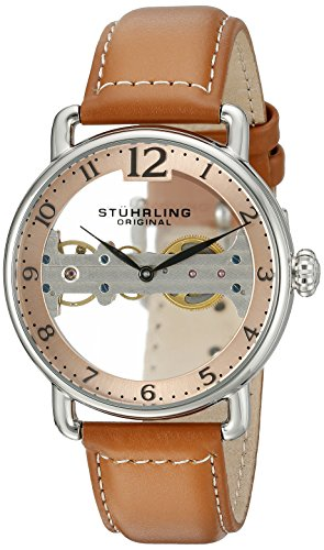 Stuhrling Original Bridge Orologio da Polso, Display Analogico, Uomo, Cinturino in Pelle, Marrone