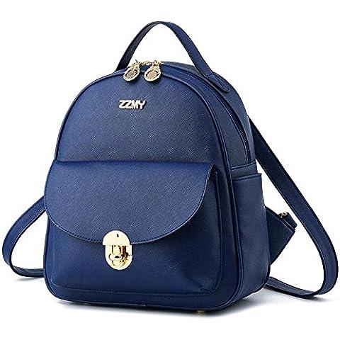 PU cuero Coreano Casual Vertical sección relieve bolsa mochila mujer , deep blue