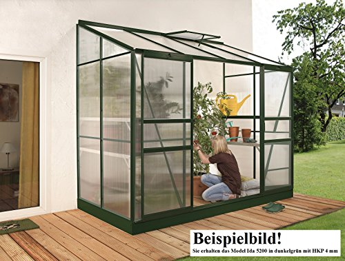 Gartenwelt Riegelsberger Anlehngewächshaus Ida – Ausführung: 5200 HKP 4 mm dunkelgrün, Fläche: ca. 5,2 m², mit 1 Dachfenster, Sockelmaß: 1,90 x 2,54 m