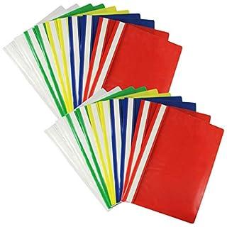 COM-FOUR® 20 Schnellhefter, DIN A4 in verschiedenen Farben sortiert, mit Beschriftungsstreifen (20 Stück - bunt)