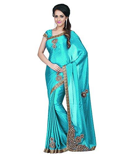 Lajree Designer Women's Satin Saree With Blouse Piece (Mancholi Firozi02_Sky Blue)