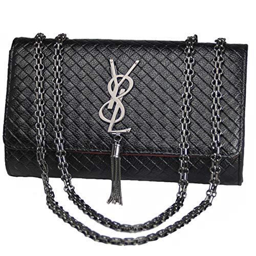 GLYW 2018 Herbst und Winter neue Damen Kette Tasche Mode Umhängetasche Messenger Bag (26 cm * 17 cm * 7 cm, Schwarz) (Chanel Handtasche)