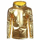 OHQ Männer Pullover Top Shirt Lackleder Hip Hop Hoodie Hipster Sweatshirts Freizeitjacke (Gold, XL)