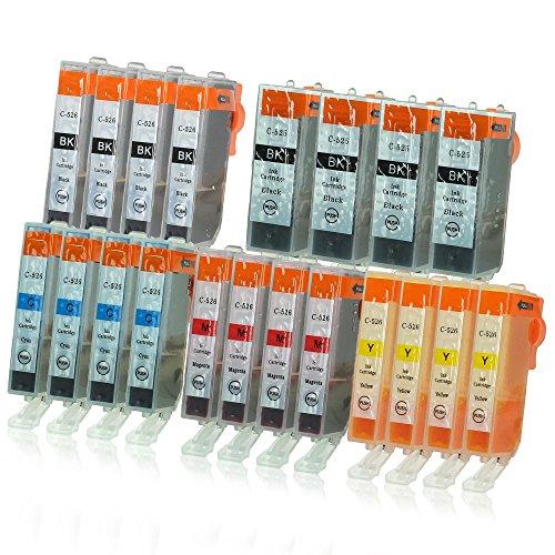 Canon Ersatz-farbe-tinte (20 Druckerpatronen mit Chip und Füllstandsanzeige kompatibel zu Canon PGI-525 / CLI-526 (4x Schwarz breit, 4x Schwarz schmal, 4x Cyan, 4x Magenta, 4x Gelb) passend für Canon Pixma IP-4850 IP-4950 IX-6550 MG-5140 MG-5150 MG-5240 MG-5250 MG-5300 MG-5340 MG-5350 MG-6150 MG-6200 MG-6250 MG-8150 MG-8200 MG-8240 MG-8250 MX-710 MX-715 MX-885 MX-890 MX-895)
