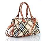 borsa borsetta bauletto spalla donna ragazza fantasia tracolla pelle media grande shopping colorata quadretti scozia scozzese beige elegante tracolla spalla