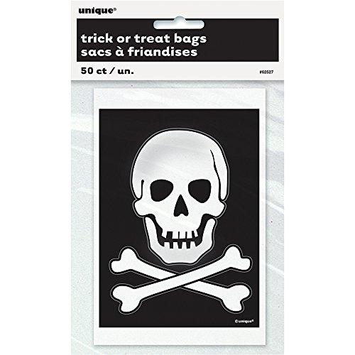 Unique Party Supplies Totenkopf und gekreuzte Knochen Halloween Taschen, 50Stück (Halloween-goodie-bags Ideen Für)