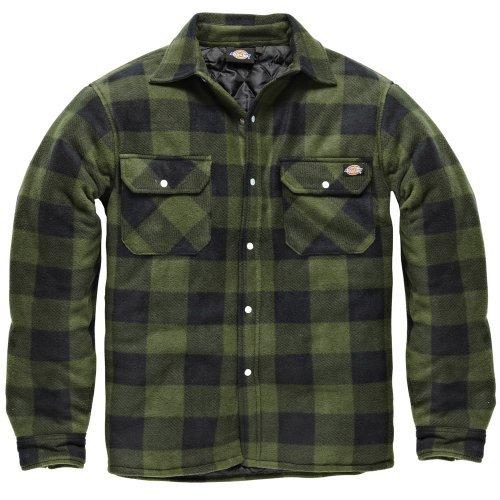 flanell jacke herren DICKIES Holzfällerhemd Thermohemd PORTLAND (XL, grün/schwarz)