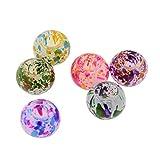 Pandahall 100 Stück Spray lackiertes Glas Europäische Perlen Runde Große Lochperlen Gemischte Farbe