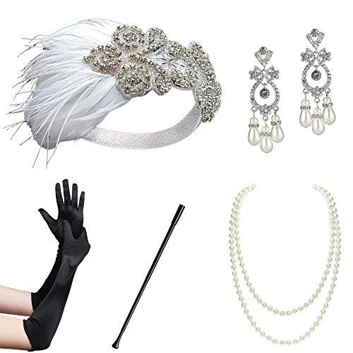Flapper Mädchen Und Gangster Kostüm - ArtiDeco 1920s Flapper Set Damen Gatsby Kostüm Accessoires Set inklusive Stirnband Halskette Handschuhe Ohrringe Zigarettenhalter (Set-3)