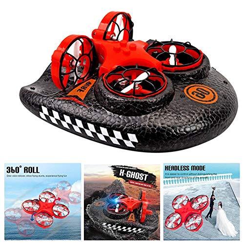 3-in-1-Mini-Drohne für Kinder, ferngesteuert, Boote, Wasser, Land und Luft, 4-Achsen-Flugzeug, Hovercraft 3-in-1-Multifunktions-Spielzeug Mini-Drohne für Pools und Seen, beige
