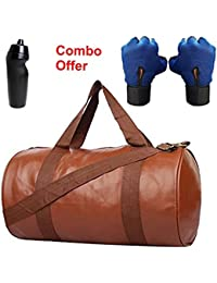 SKYSONS Gym Bag Combo Set Enclosed With Soft Leather Gym Bag For Men And Women For Fitness - Bag Size 49cm X 24cm... - B07DXFMVLB