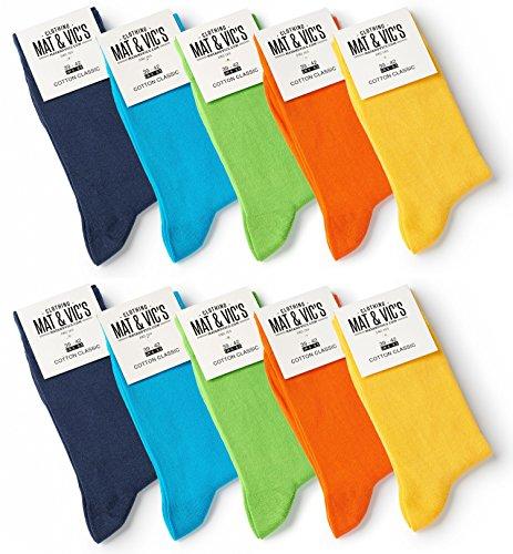 10 Paar Socken von Mat & Vic's für Sie und Ihn - Cotton classic bequem ohne drückende Naht - angenehmer Komfort-Bund - OEKO-TEX Standard 100 (47-50, Trend Colors)