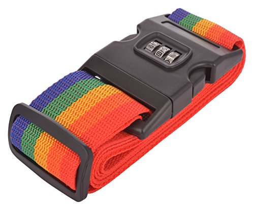 EZ Life Travel Safety Nylon Strength Travel Belt Luggage Strap with Combination Lock - Rainbow Color - 1 pc