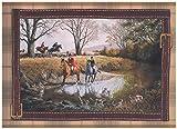 York Wallcoverings Roll-mittelalterliche Jagd auf Pferden mit Hund Hunde Szenen karierte leichte braune Tapeten Grenze Retro-Design, 15' x 9