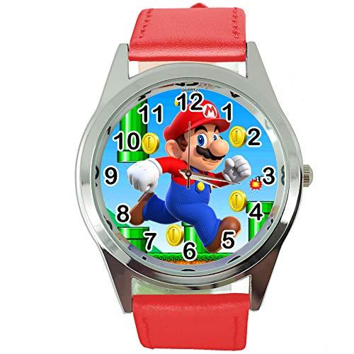 TAPORT® Reloj de Cuarzo Correa de Cuero Rojo para Mario Fans E2