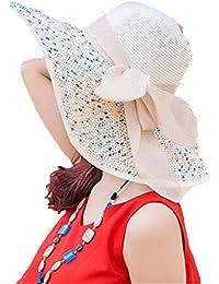 b9503d79c LOF-fei Mujer Verano Sombrero de Sol Sombrero de Paja Disquete ala anchaal  Aire Libre