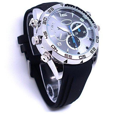 DVR-Armbanduhr mit eingebauter Spionage-Kamera (16GB, HD, 1080P, 1920× 1080, Nachtsicht, Videoaufzeichnung, Audiorekorder) (Kamera Watch Nachtsicht Spy)