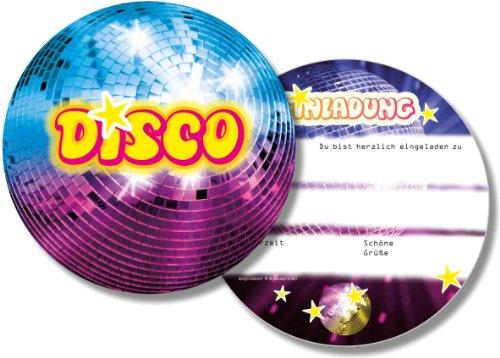 Disco * für Kindergeburtstag und Party von DH-Konzept // DISCOE020 // Kinder Geburtstag Party Einladung Einladungen Karte Glitzer Discokugel ()