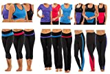 Ladies Gym or Sport Fitness Mix and Match Co-ordinating Top and Bottoms Black with Blue Purple or Pink in Small Medium or Large