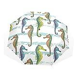 EZIOLY Regenschirm mit Gestreiftem Seepferdchen, leicht, UV-Schutz, Sonnenschirm für Herren, Frauen und Kinder, Winddicht, faltbar, kompakt