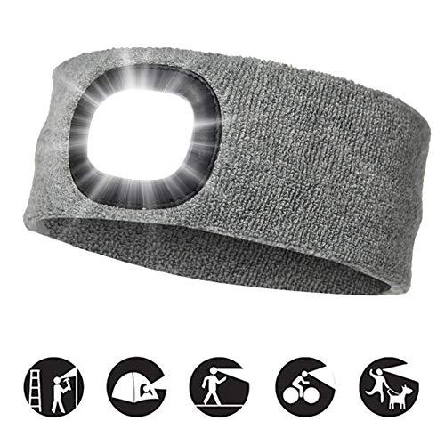 INHDBOX USB Nachladbare Stirnband mit LED Beleuchtetes, Laufhut 4 LED-Lampe mit Wasserdichtem Licht und Blinkender Alarmscheinwerfer Hohe Stretch Multi-Color, Unisex Scheinwerfer-Mütze(Grau) -