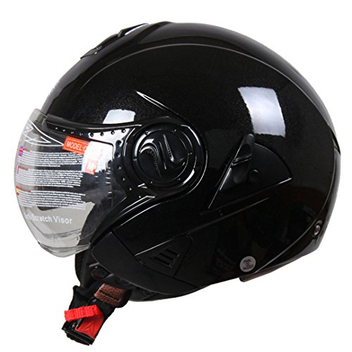 Cascoen casco moto elettrica vintage cruiser touring touring chopper street bike scooter helmet con clear lens shield glossy black xl