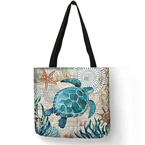 HHdstb Fertigen Sie Einkaufstasche-Seepferdchen-Schildkröten-Kraken-Muster-Reisende Umhängetaschen-Öko-Leineneinkaufstaschen Für Frauen Mit Druck Besonders An