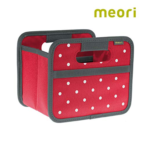 meori Faltbox Mini Hibiskus Rot/Punkte 16,5x12,5x14cm stabil abwischbar Aufbewahrungsbox Organizer Geschenkbox mit Griffen Dekoration Kleinteile Sortieren Regal