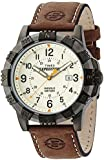 Timex Expedition Men's Quartz Watch with Yellow Dial Analogue Digital Display and Rugged Metal Brown Leather Strap T49990