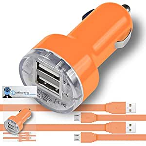 iTALKonline Cubot Cheetah Phone Orange Rapid 2000 mAh Compact Bullet DUAL Small Fast Travel DC 12V/24V In Car Charger USB Adapter with 2 x 1 Meter Flat Data Sync PC Laptop Charging Cable