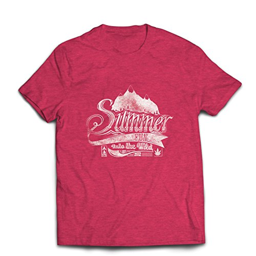 lepni.me Männer T-Shirt Sommerspaß in freier Wildbahn, inspirierender Urlaubsurlaub (Large Heidekraut Rot Mehrfarben) -
