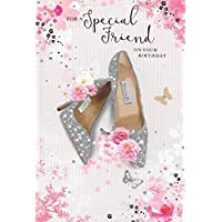 Special Friend Birthday Card***Sparkly Diamonte Shoes***9 X 6 INCHES***1ST Class Post**AA3**