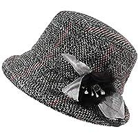 L&L Sombrero Sombrero de Mujer Moda de Invierno Pequeños Sombreros de Tela Escocesa Elegante Dulce cálida Gorra Salvaje de Europa y América (Color : A)