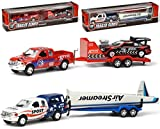 Jeep mit Anhänger, L ca. 30 cm, Diecast Pickup Truck 4x4 Trailer- inkl. Ralley Auto oder Flugzeug