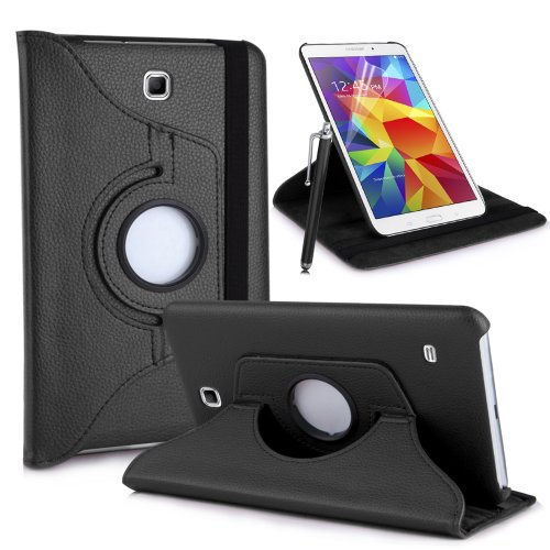 MOFRED® Black Galaxy Tab 4 10.1″ Rotating Case-MOFRED®-360 Degree Rotating Standby Case for Galaxy Tab 4 10.1 inch with Built-in magnet for Sleep & Awake Feature + Galaxy Tab 4 10.1″ Screen Protector Film + Stylus Pen (Galaxy Tab 4 10.1 inch)