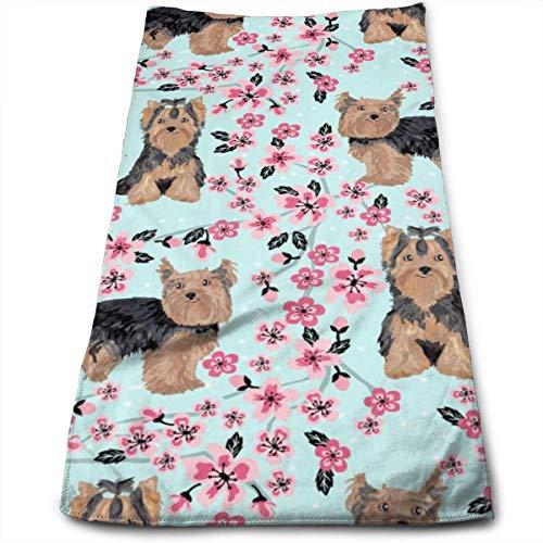 Wodann Yorkie Kirschblüte - Yorkshire Terrier Hund Kirschblüten Tönung Handtücher Geschirrtuch Floral Leinen Handtücher Super weich 11,8