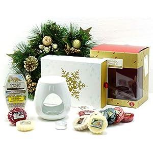 Offizielles Yankee Candle Festive Season Wachsstücken Weihnachtskarten-Set Geschenk-Pack beinhaltet Wachs Cubes, geruchloses Teelicht